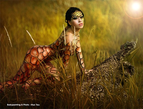 9X hoang da voi body painting 3D hinh anh