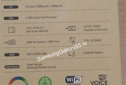 Lo vo hop Galaxy S5 man hinh QuadHD 52 inch camera 20MP