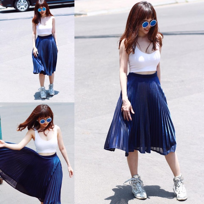 Si Thanh goi y cach mix ao crop top hinh anh 1