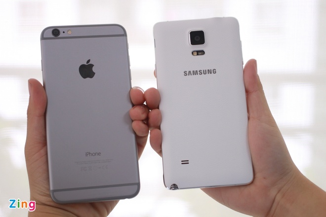 Galaxy Note 4 so dáng với iPhone 6 Plus tại VN
