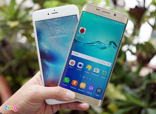 iPhone 6S Plus đọ dáng Samsung Galaxy S6 Edge Plus