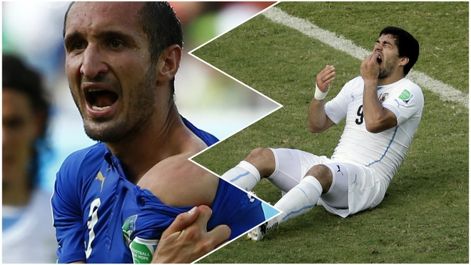 Turnaround. Praise turns to global criticism for Luis Suarez within days as he bites an opponent for the third time in his career. Italy's Giorgio Chiellini is the victim, earning Suarez a four-month ban from all football activity